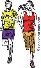 スケッチ, 恋人, runners., イラスト, ベクトル, マラソン