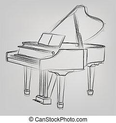 スケッチ, 抽象的, イラスト, ベクトル, グランドピアノ