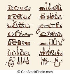 スケッチ, 棚, あなたの, 道具, デザイン, 図画, 台所