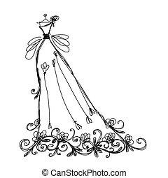 スケッチ, 装飾, デザイン, 花, 花嫁のドレス, あなたの