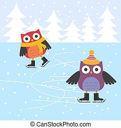 スケート, かわいい, 氷, フクロウ