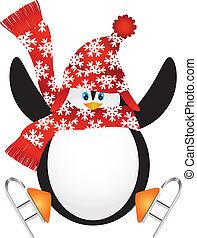 スケート, イラスト, 氷, サンタの 帽子, ペンギン