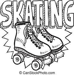 スケート, スケッチ, ローラー