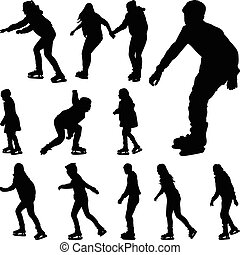 スケート, ベクトル, シルエット, 氷