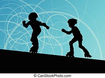 スケート, ベクトル, ローラー, 背景
