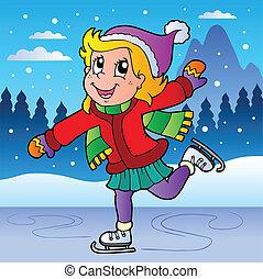 スケート, 女の子, 冬場面