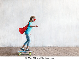 スケート, 極度, 女の子, スタジオ