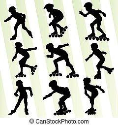 スケート, 概念, ベクトル, 背景, ローラー, 子供
