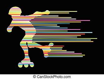 スケート, 概念, 勝者, シルエット, ベクトル, 背景, ローラー