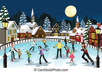 スケート, 氷, 人々
