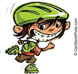 スケート, 男の子, 歯医者の, 大きい, バックパック, スポーツ袋, 届く, 支柱, 微笑, 漫画, 興奮させられた, ローラーブレードをする
