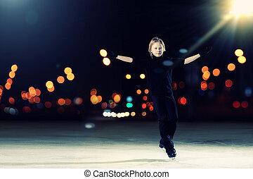 スケート, 男の子, 若い, 数字