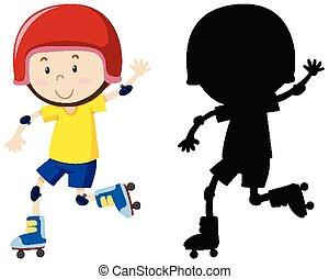 スケート, 色, 遊び, ローラー, シルエット, 男の子