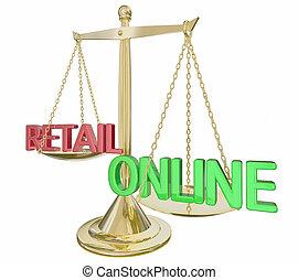 スケール, 金, イラスト, インターネット商業, ∥対∥, 言葉, オンラインで, 小売り, 3d