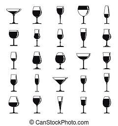 スタイル, アイコン, wineglass, セット, 単純である