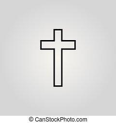 スタイル, キリスト教徒, 抽象的, 交差点, 手, 黒, 引かれる, 印