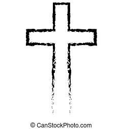 スタイル, キリスト教徒, 抽象的, 交差点, 手, 黒, 引かれる