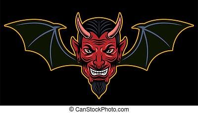 スタイル, コウモリ, 背景, 頭, 翼, ベクトル, 有色人種, 暗い, 隔離された, イラスト, 漫画, 悪魔