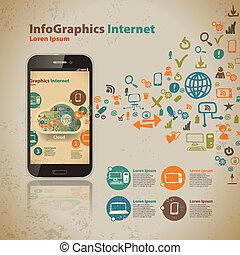 スタイル, コンピュータ, 型, infographic, テンプレート, 技術, 雲