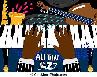 スタイル, ジャズ, poster., 祝祭, ブルース, 型, 現代, バンド, ベクトル, 音楽, テンプレート, ポスター, 芸術, ピアノ, リズム, ミュージカル, コンサート