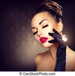 スタイル, ファッション, 美しさ, 型, 魅力, portrait., 女の子