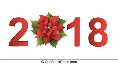 スタイル, ベクトル, 芸術, poinsettia., 2018., ペーパー, デザイン, 年, 花, 新しい, 幸せ