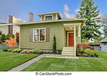 スタイル, 刷新された, house., 緑, 職人, 小さい