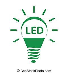 スタイル, 単純である, リードした, 電球, ライト, 照ること, アイコン