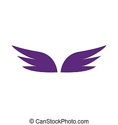 スタイル, 単純である, 対, すみれ, アイコン, 翼