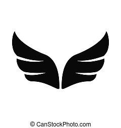 スタイル, 単純である, 対, 黒, アイコン, 翼