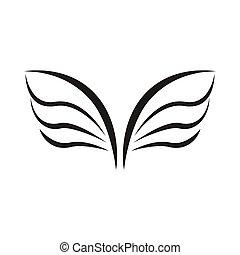 スタイル, 単純である, 鳥, 対, アイコン, 翼