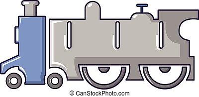 スタイル, 古い, 漫画, 機関車, アイコン, 蒸気