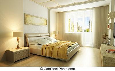 スタイル, 寝室, 現代, 内部, 3d