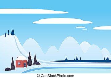 スタイル, 小屋, 川, 氷, 湖, ベクトル, sci, 山, 松, 隔離された, 風景, frosen, 平ら, 家, 木, 雪, 漫画, 冬, hills., イラスト, ice.