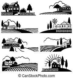 スタイル, 木版, 田舎, 型, 背景, scene., 農場, ベクトル, 風景