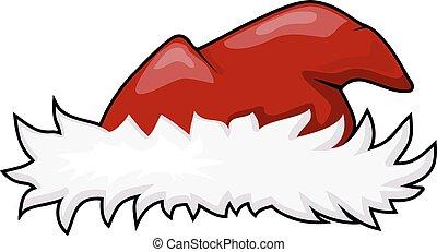 スタイル, 毛皮, claus, イラスト, top., ベクトル, サンタの 帽子, 漫画, 赤