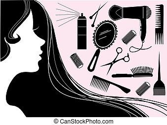 スタイル, 毛, 美容院, ベクトル, element.