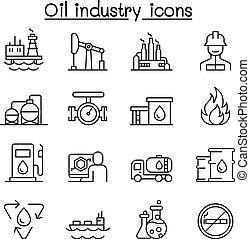 スタイル, 石油産業, セット, 薄いライン, アイコン