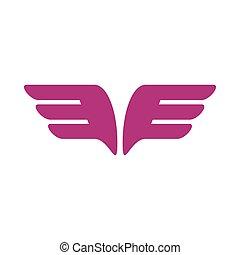 スタイル, 紫色, 対, アイコン, 翼, 単純である