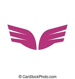スタイル, 紫色, 抽象的, 対, アイコン, 翼, 単純である