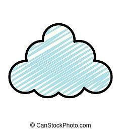 スタイル, 自然, いたずら書き, ふんわりした雲, すてきである