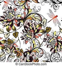 スタイル, 花, 背景, seamless, 花, 型, 手, 引かれる