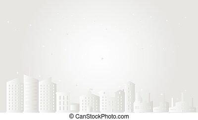 スタイル, scene., ペーパー, 芸術, concept., クリスマス, ベクトル, 星, 都市, 町, 都市の景観, illustration., 白