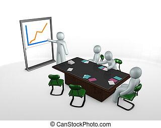 スタッフ, イメージ, グラフ提示, ミーティング, テーブル, 3d