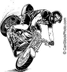 スタント, オートバイ, 人