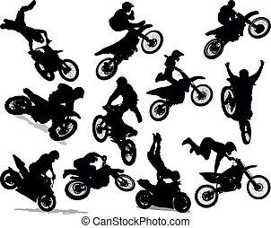 スタント, セット, シルエット, オートバイ