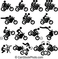スタント, 向こう見ず, オートバイ, アイコン