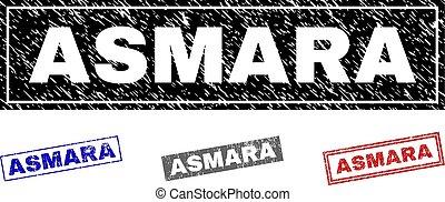 スタンプ, asmara, グランジ, 長方形, textured