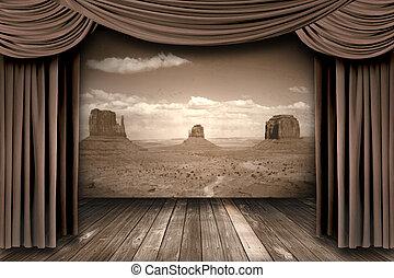 ステージ, カーテン, 背景, 砂漠, 劇場, 掛かること