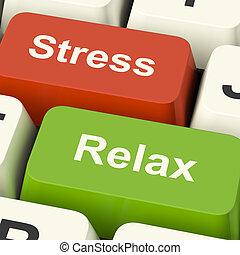 ストレス, リラックスしなさい, キー, 仕事, 圧力, コンピュータ, オンラインで, ∥あるいは∥, リラックス, ショー